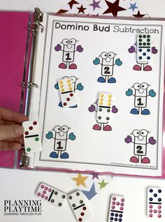Looking for a fun Subtraction Activities Binder? This one is great for SUPER low prep addition practice on the go. Just add some playdough or toys and play. Subtraction Activities, Kindergarten Math Activities, Kids Math Worksheets, Preschool Math, Literacy, Addition Activities, Activities For Kids, Nutrition Activities, Learning Through Play