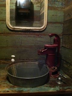 Love this! -- A bathroom sink for the cabin themed home - just not at all practical