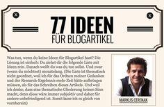 Keine Ideen für Blogartikel? Dann lies Markus Cerenak – 77 Ideen für Blog Artikel - Mehr Infos zum Thema auch unter http://vslink.de/internetmarketing