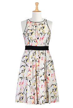 eShakti Tipped trim floral print dress