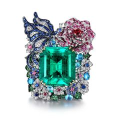 James Ganh one-of-a-kind ring featuring 50cts Colombian emerald