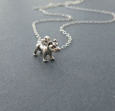 bitty pit bull terrier necklace sterling by cravejewelrydesign, $24.00 -- it's an itty bitty pitty!