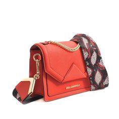 Karl Lagerfeld Small Rock Strap Saffiano Bag in Red