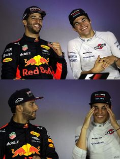 Strolls grin is wider than Riccis! Ricciardo F1, Daniel Ricciardo, Red Bull Racing, F1 Racing, Gp F1, F1 Motorsport, F1 2017, Williams F1, Dry Humor