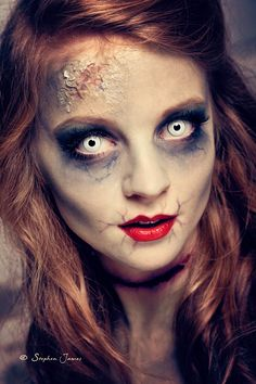 Glamour zombie SFX makeup idea / Paired with all-white FX zombie contacts => http://www.pinterest.com/pin/350717889705763104/