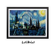 Hogwarts Starry Night Print Harry Potter Print by LetiPrint