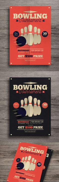 Vintage Bowling Tournament Flyer Template AI, PSD