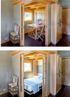 #tumbleweed #tinyhouses #tinyhome #tinyhouseplans Murphy Bed / Fold-Up Table in a 400 sq ft park model home in Bellingham, WA. And check out those pocket doors! | Wildwood - Tiny House Swoon | Tiny Homes