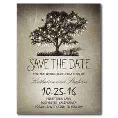 Rustic string lights tree vintage save the date