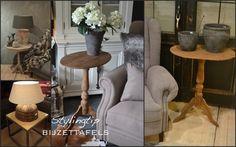 bijzettafels - De (oude) bijzettafeltjes zijn werkelijk ideaal en sfeervol. Zet er een mooie lamp op of een paar kandelaars en u heeft een prachtig geheel. Ook ideaal naast uw fauteuil. Misschien heeft u nog een mooi model die alleen een linkje verf nodig heeft?