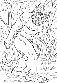 Printable Bigfoot Coloring Pages Camping Coloring Pages, Coloring Pages For Boys, Animal Coloring Pages, Free Printable Coloring Pages, Colouring Pages, Coloring Books, Kids Coloring, Bigfoot Birthday, Bigfoot Party