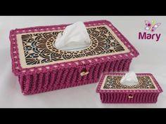 Scatola porta fazzoletti   Uncinetto   Crochet - YouTube Crochet Home, Facial Tissue, Decorative Boxes, Make It Yourself, Youtube, Tela, Crochet House