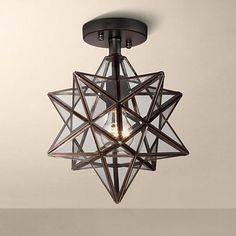 "Cuthbert Clear Glass 13"" Wide Black Iron Star Ceiling Light - #8F491 | www.lampsplus.com"
