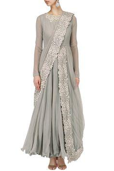 SAUMYA AND BHAVINI MODI Cloud grey embroidered drape anarkali set. Shop now! #saumyaandbhavinimodi #grey #embroidery #anarkali #indianfashion #indiandesigners #perniaspopupshop #happyshopping