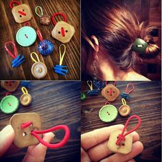 Vintage buttons with colorful elastics make a simple and attractive Hair Button#repurposed