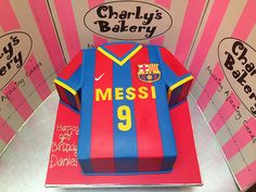 Barcelona FC Lional Messi t-shirt shaped cake covered in fondant icing Messi Birthday, Football Birthday Cake, Soccer Birthday Parties, Soccer Party, Fondant Icing, Fondant Cakes, Cupcake Cakes, Cupcakes, Barcelona Cake
