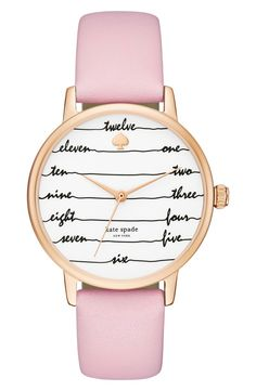 Flowing cursive indexes offer whimsical timekeeping on this sophisticated Kate Spade watch tailored with a smooth leather strap in pink.