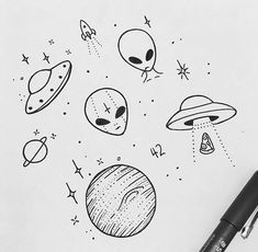 65 ideas for easy art sketches doodles 65 ideas for easy art sketches doodles 65 ideas for easy art sketches doodles Alien Drawings, Space Drawings, Doodle Drawings, Easy Drawings, Tattoo Drawings, Drawing Sketches, Tattoos, Ufo Tattoo, Simple Tumblr Drawings
