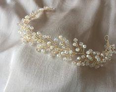Haarrebe, Braut Kopfschmuck, Haarschmuck, Kristall Hochzeit Rebe klare Farbe