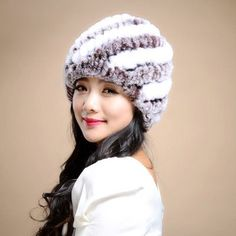 Russian Winter knitted fur Cap women's hat natural rex rabbit fur hats