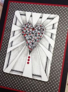 Tangled Heart by Melissa Hoopes, Certified Zentangle Teacher (CZT) ~ you can find Memory Box Licorice Distressed Dots Card Stock and Licorice Greeting Cards at www.stampassion.com