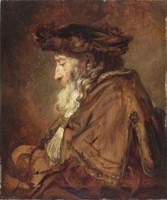 REMBRANDT van Rijn, Dutch (1606-1669)_Portrait of a Rabbi, 1645, The Leiden Collection: