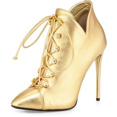 Giuseppe Zanotti Metallic Leather Lace-Up Bootie ($383) ❤ liked on Polyvore featuring shoes, boots, ankle booties, heels, ankle boots, dore, lace up boots, lace up bootie, high heel ankle boots and leather booties