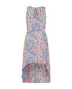 Teens Blue Floral Butterfly Print Dip Hem Sleeveless Dress  | New Look