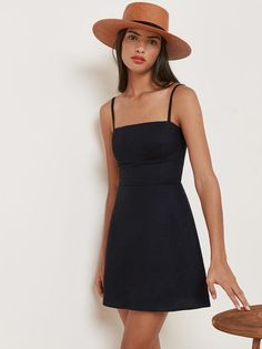 This is a fit and flare, mini dress with a straight neckline and adjustable straps. This is a fit and flare, mini dress with a straight neckline and adjustable straps. Mode Outfits, Dress Outfits, Casual Dresses, Fashion Outfits, Summer Dresses, Fashion News, Men's Fashion, Casual Black Dress Outfit, Flowy Dresses