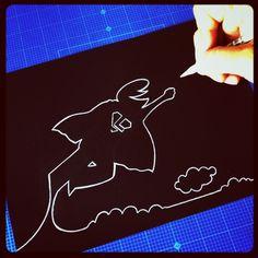 """Tribute To """"La Linea"""" superhero series sketch by: Stefano Di Lollo (Prismacolor white pencil #PC938 on Fabriano black Ingres paper)."""