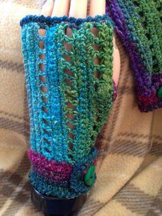 Vivid Blue Green Purple Fingerless Gloves by TiltedCousins on Etsy, $30.00