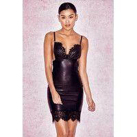 'Naveen' Black Lace & Vegan Leather Bralet Dress