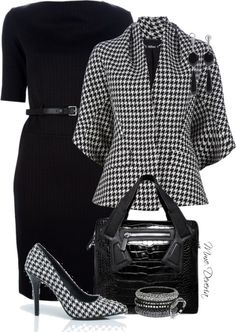 """Houndstooth combo"" by madamedeveria ❤ liked on Polyvore"