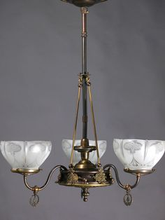 Circa 1885 Very Nice Art Nouveau 3 Light Gas With 5 North Wind Faces
