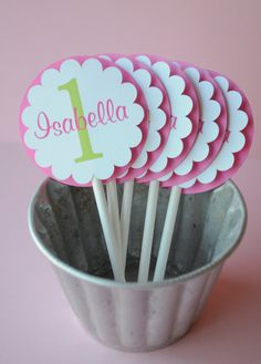 12 Cupcake Toppers - Girl's 1st Birthday Party Pink and Green - Personalized. $10.00, via Etsy.