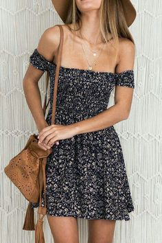 #summer #fashion / pattern print off the shoulder dress