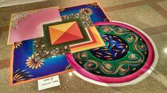 Rangoli design Rangoli Designs Peacock, Simple Rangoli Border Designs, Rangoli Designs Latest, Rangoli Borders, Rangoli Designs Images, Rangoli Designs Diwali, Diwali Rangoli, Beautiful Rangoli Designs, Mehndi Designs