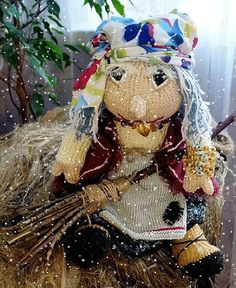 Forest doll Baba Yaga Christmas toy knitted New Year toy