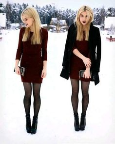 One burgundy dress, two looks! Dinner Outfits, Casual Outfits, Fashion Outfits, Fashion Fashion, Fashion Ideas, Vintage Fashion, Outfit Vestido Rojo, Christmas Eve Outfit, Christmas Dresses