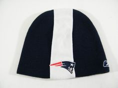 New England Patriots Knit Skull Cap NFL Navy Blue White Beanie Reebok One Size  #Reebok #NewEnglandPatriots