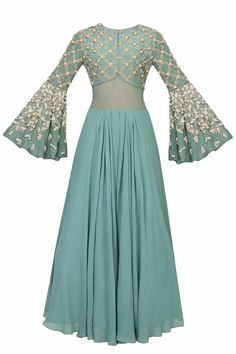 Autumn pearl embroidered flared sleeves anarkali set available only at Pernia's Pop Up Shop. Indian Gowns, Indian Attire, Pakistani Dresses, Indian Wear, Indian Outfits, Designer Gowns, Indian Designer Wear, Gowns With Sleeves, Gowns Online