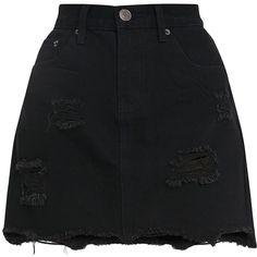 Eli Black Raw Hem Distressed Denim Skirt (65 BAM) ❤ liked on Polyvore featuring skirts and distressed denim skirt