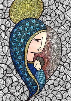 Nossa Senhora e Jesus Cristo pela artista Luciana Pupo - IG @lucianapupoart