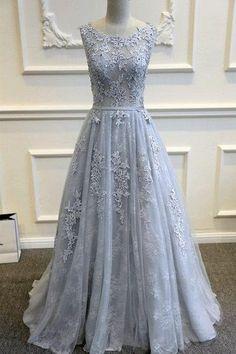Grey prom dress,Lace Prom Dress,Long Sleeveless Evening Dress,Beautiful Prom Dress, V-Back Prom Dress,Scoop Neck Prom Dress