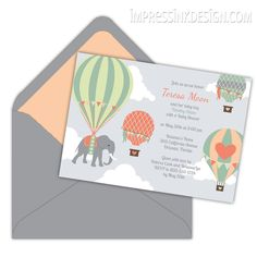 Hot Air Balloons Baby Shower Invitation - New from Impress Ink!