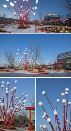 The Modern Sculpture In This Plaza Was Inspired By Pomegranate Flowers In the center of this public plaza is the Pomegranate Flower, a light sculpture inspired by the stamens of the pomegranate flower. Arco Floral, Art Public, Public Spaces, Grenade, Light Installation, Art Installations, Landscape Lighting, Light Art, Sculpture Art