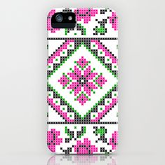 Cross Stitch Pattern Pink Green Black iPhone & iPod Case