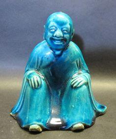 18th C. Chinese Turquoise Glazed Seated Lohan Art Pottery Figure Marked | eBay