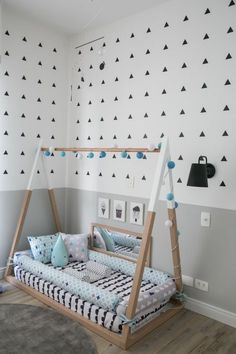 Best Toddler Boys Bedroom Themes for your Best Toddler Boys Bedroom Themes for your inspiration Baby Hammock Cama montessoriana: 90 modelos lindos, vantagens e onde comprar Custom order toddler bed bumper removable cover snake Montessori Teepee Bed Boy Toddler Bedroom, Toddler Rooms, Baby Bedroom, Baby Boy Rooms, Nursery Room, Girls Bedroom, Trendy Bedroom, Toddler Floor Bed, Baby Floor Bed