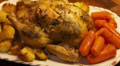 Κοτόπουλο με πατάτες, μέλι και μουστάρδα ψημένο σε χυμό πορτοκαλιού Everyday Food, Greek Recipes, Food Porn, Turkey, Food And Drink, Meat, Cooking, Favourite Chicken, Kitchens